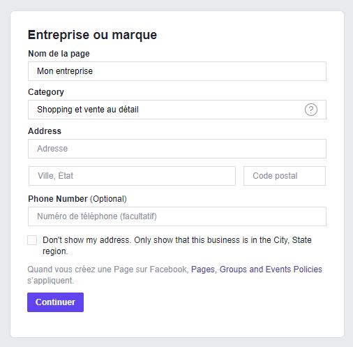 Information page Facebook